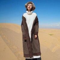 Aigyptos AA зима осень Для женщин Винтаж Новинка полосатый лоскутное шнуровкой свободные Сгущает x длинный халат Стиль шерстяное пальто верхняя