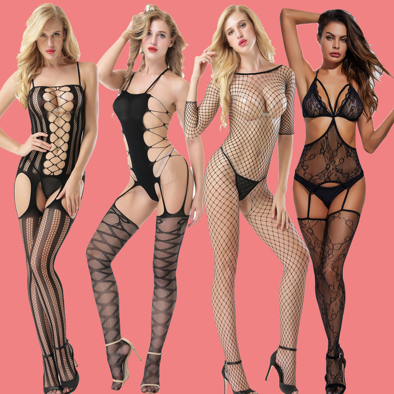 Womens Fishnet Body Stocking Sexy Erotic Lingerie Costumes Teddies Body Suits Crotchless Babydoll Underwear For Sex Tights Adult