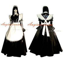 Free Shipping Sexy Sissy Maid Pvc Dress Black Lockable Uniform Cosplay Costume Tailor-made