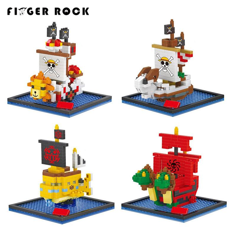 купить 12 style One Piece Diamond Building Blocks Going Merry Thousand Sunny Nine Snakes Submarine Model Toys DIY Mini Bricks Gifts дешево