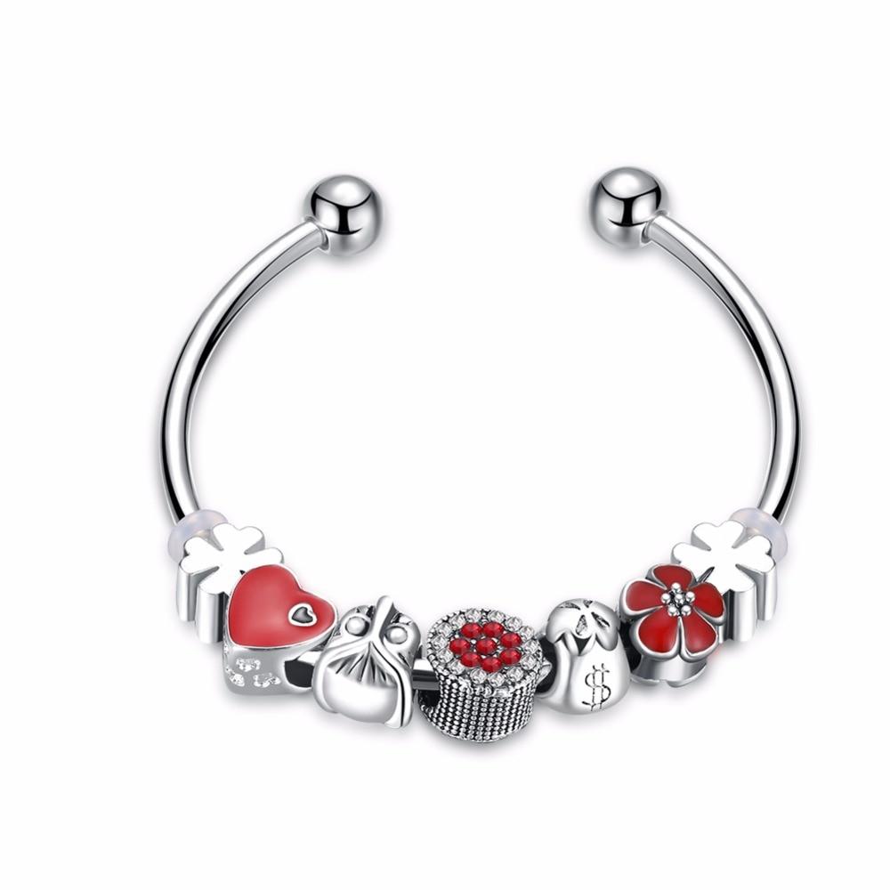 2018 New Style Jewelry Personality Ancient Silver Bracelet Enthusiasm Red Jewelry Bracelet Beautiful Women's Lucky Bracelets