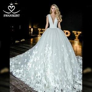 Image 5 - Swanskirt атласное свадебное платье с v образным вырезом 2020 Аппликации бальное платье бабочка свадебное платье Часовня Поезд размера плюс Vestido de novia HZ10