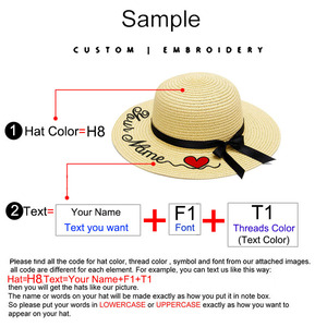 Image 2 - Embroidery Personalized Custom LOGO Your Name straw hat Sun Hat Large Brim Straw Hat Outdoor Beach hat Summer Caps