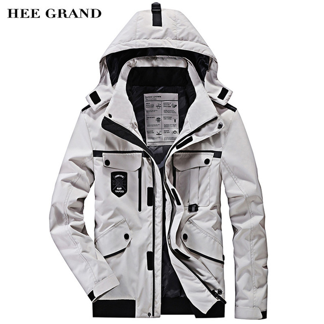 Hee Grand/Для мужчин Стильный Мужские парки Новинка 2017 года одноцветное Цвет карманы украшения со съемной Hat Осенне-зимнее пальто Размеры M-4XL MWM1702