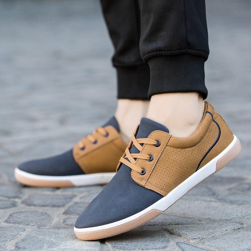 Promotion hommes casual chaussures en cuir D'affaires chaussures oxford mode sneakers 2018 automne respirant dentelle-up low-hop espadrilles