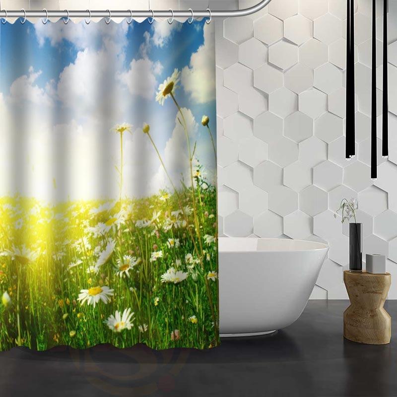 Custom Daisies Beautiful Sunny Spring Shower Curtain Waterproof Fabric Shower  Curtain For Bathroom WJY1.17