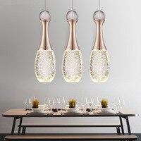 modern minimalist led bubble Champagne Gold crystal pendant light warm romance bedroom dining room three bar hang lamp 110 240V