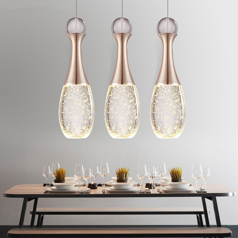 modern minimalist led bubble Champagne Gold crystal pendant light warm romance bedroom dining room three bar hang lamp 110-240V