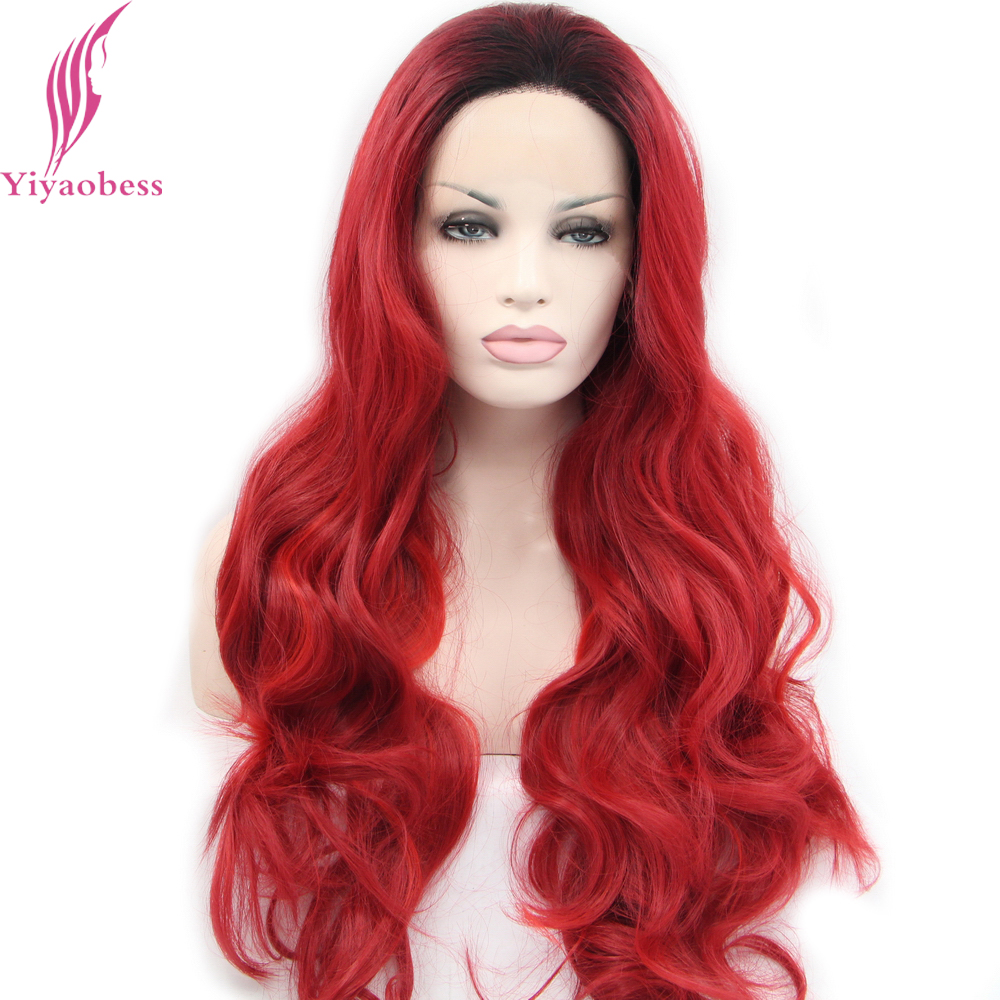 Yiyaobess Synthetic Lace Front Wig High Temperature Fiber Glueless Dark Root Red Ombre Wigs For African American Women