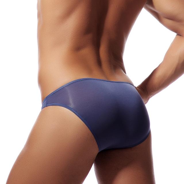 Men Ice Silk Briefs Pouch Summer Transparent Underwear Slip Homme Nylon Through Briefs Men Sexy Fashion Low Waist Underwear
