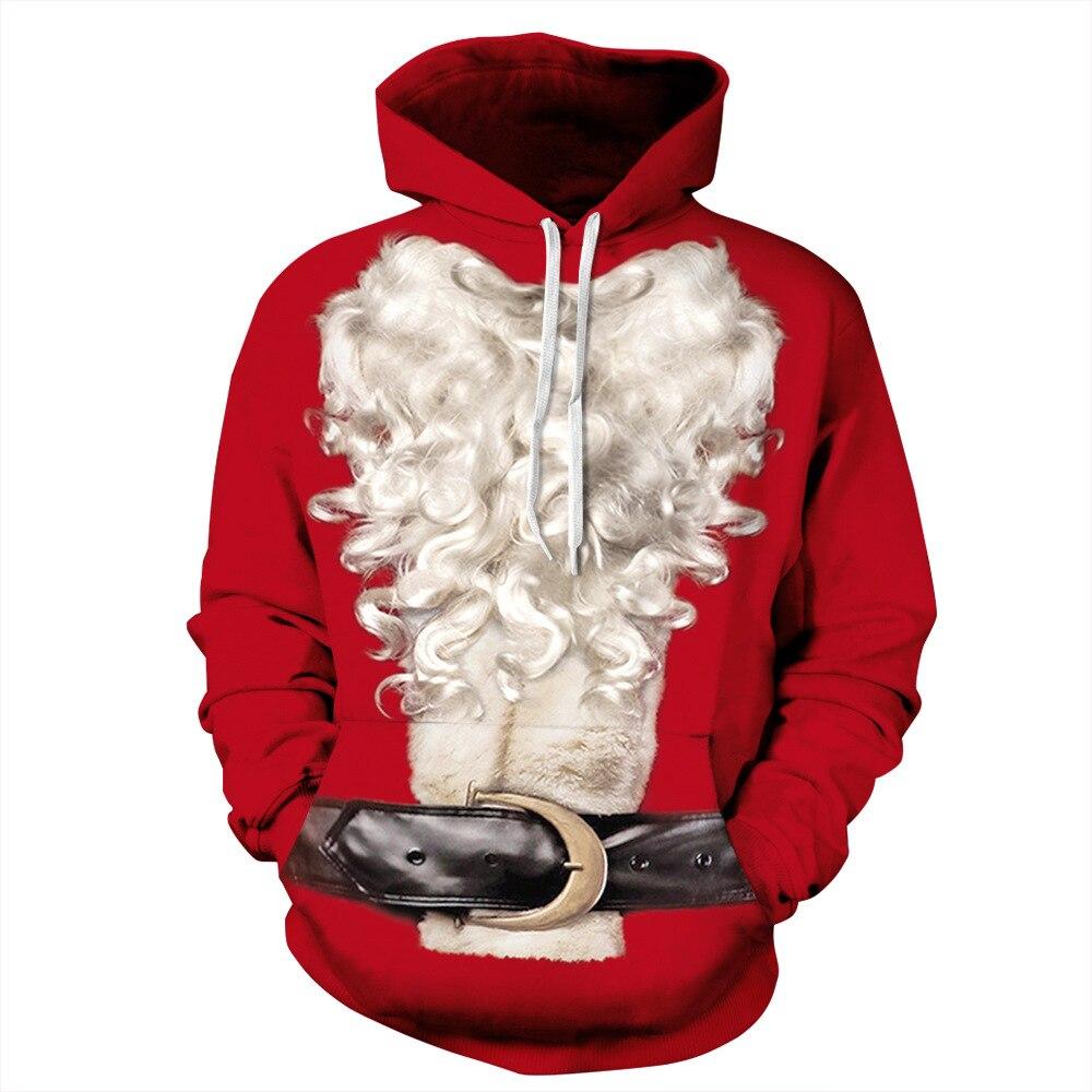 Red Christmas White Beard Digital Printing Fashion Men And Women Loose Large Size Large Corset Belt Hoodies Couple Hoodies