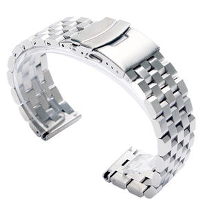 Folding Clasp Strap Bracelet Watch-Band Safety-Watches Solid-Link Stainless-Steel 24mm