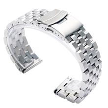 Luksusowa 22 20mm srebrna czarna porządna Link ze stali nierdzewnej zegarek ze stali nierdzewnej 24mm składane zapięcie zegarki bezpieczeństwa bransoletka z paskiem wymiana tanie tanio YISUYA CN (pochodzenie) 19 cm Od zegarków STAINLESS STEEL Nowy z metkami GD0192 Folding Clasp with Safety watch bracelet