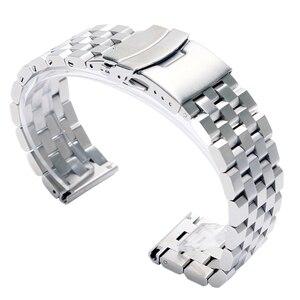 Image 1 - Luxe 22/20mm argent/noir solide lien acier inoxydable Bracelet de montre 24mm pliant fermoir montres de sécurité Bracelet Bracelet remplacement