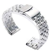 Luxo 22/20mm prata/preto sólido link aço inoxidável relógio banda 24mm dobrável fecho de segurança relógios cinta pulseira substituição
