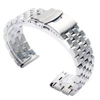 Luxus 22/20mm Silber/Schwarz Solide Link Edelstahl Uhr Band 24mm Klapp Verschluss Sicherheit Uhren strap Armband Ersatz