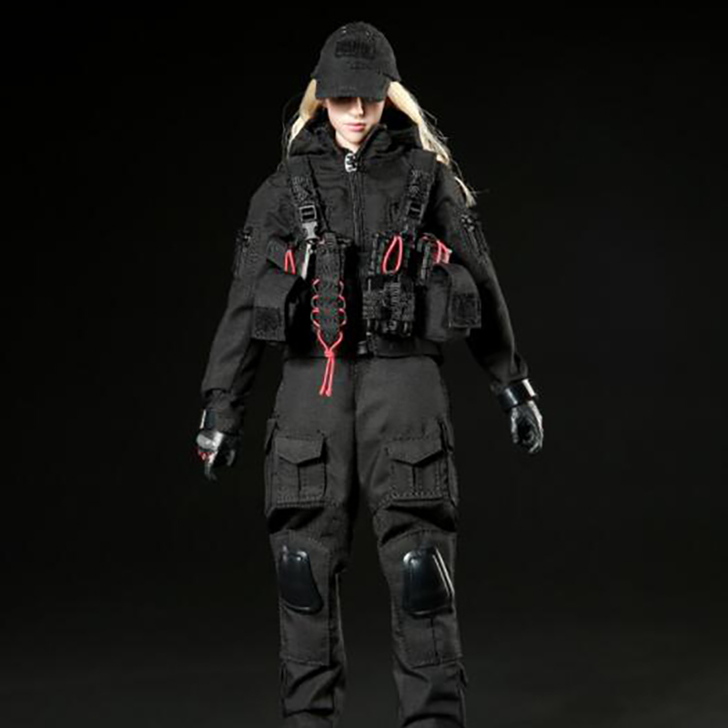 1/6 Scale Doll Dark Night Female Gunman Woman Female Soldier  Clothes Clothing Set For 12 Female Figure Body Doll1/6 Scale Doll Dark Night Female Gunman Woman Female Soldier  Clothes Clothing Set For 12 Female Figure Body Doll