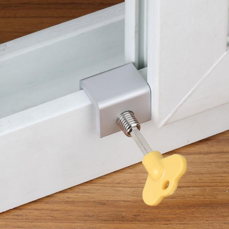 1 PCS Sliding Window Locks Stop Aluminum Alloy Door Frame Security Lock Safety Protection Lock Anti-theft Push Window