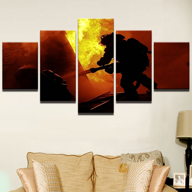 Modern HD Printed Painting Unframe Canvas Room Home Decor 5 Pieces Fireman  Firefighting Landscape Posters Wall