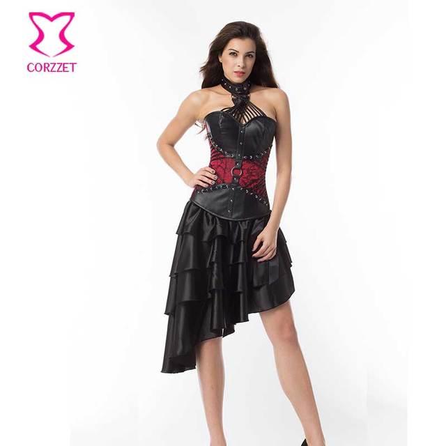 Corzzet armadura de aço desossado halter overbust espartilho de couro vermelho do vintage vestido de emagrecimento plus size steampunk gótico vitoriano conjuntos