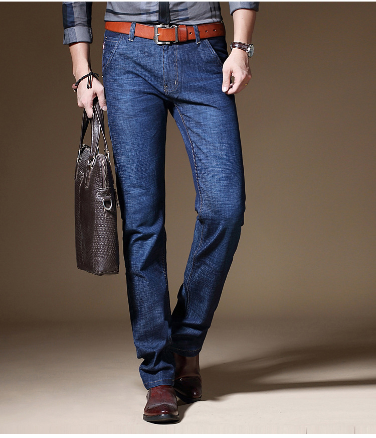 KSTUN Jeans for Men Thin Slim Straight Solid Blue Classic Direct Stretch Business Casual Washed