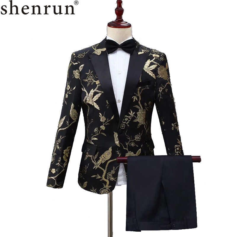 SHENRUN New Design Mens Stylish Embroidery Royal Blue Green Red Floral Pattern Suits Stage Singer Wedding Groom Tuxedo Costume