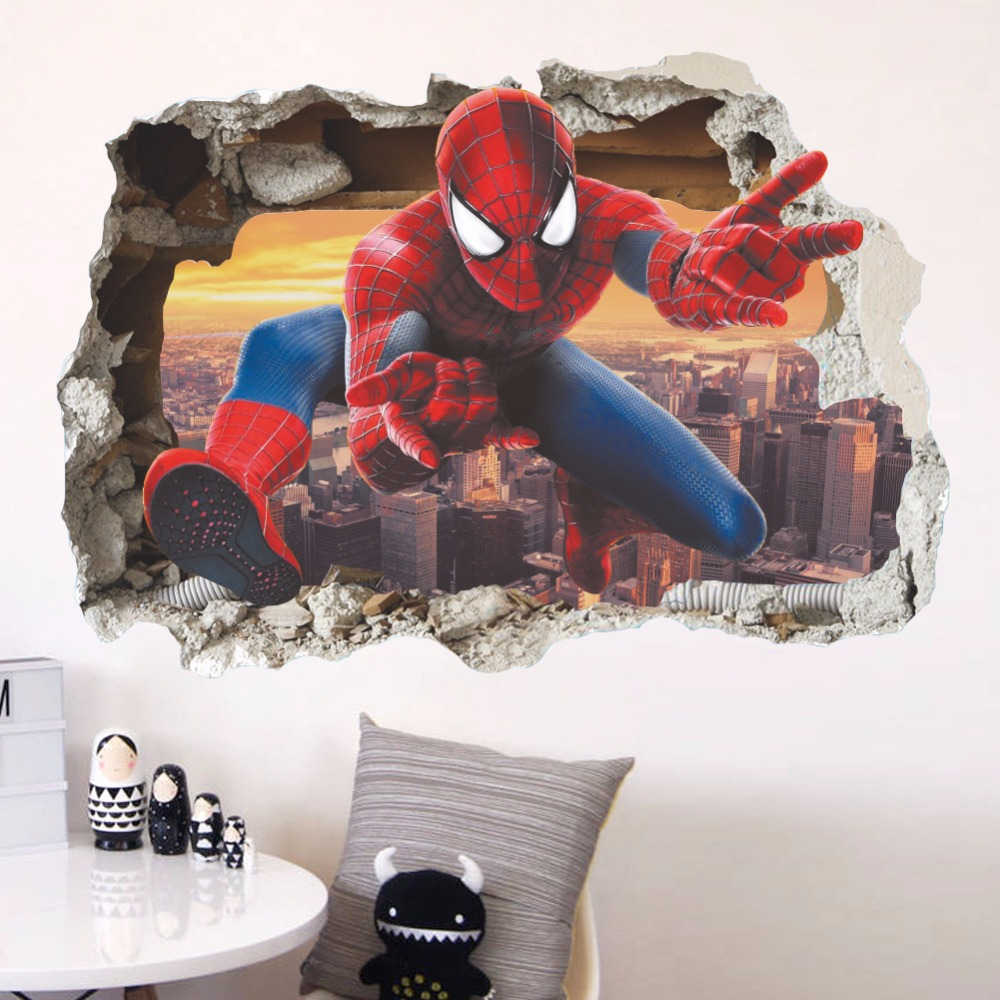 3D wall stickers cartoon movie Spiderman for kids boys rooms decals home decor