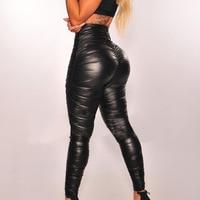 Women PU Leather trousers stretch pencil pants Pleated Capris High Waist Pants Trousers Sexy Hips Jeans 2018 Pantalon Femme