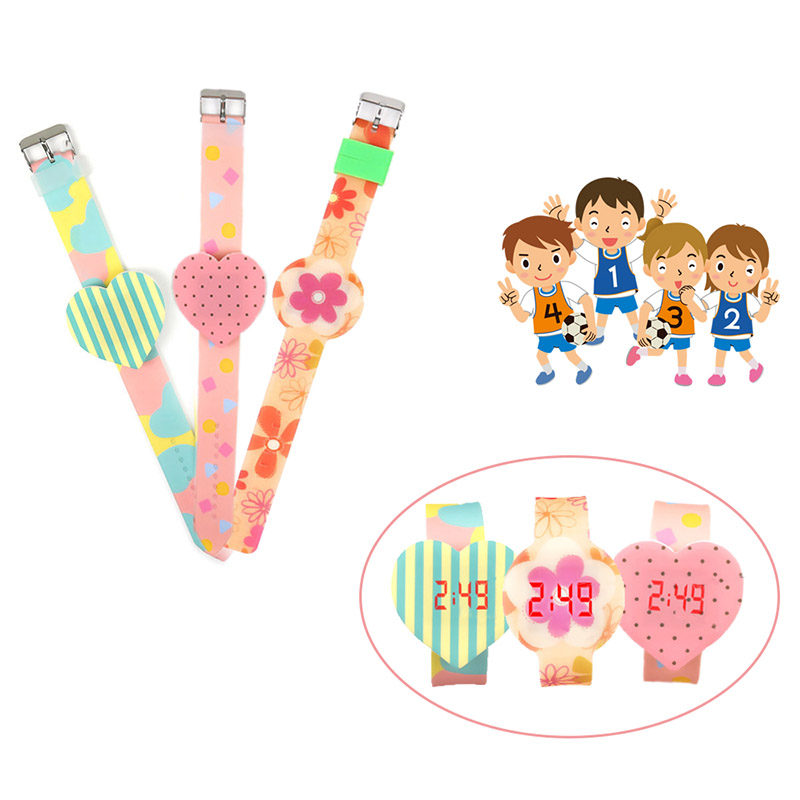 1 Pcs Kids LED Electronic Watch Silicone Band Love Heart Flower Dial Candy Wrist Watch Lovely Gift LL@17