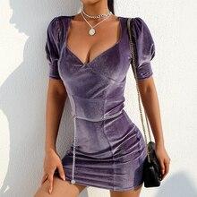 Low-Cut Velvet V-Neck Dress Short Sleeve Purple Vintage Dress Elegant Kleider Damen Summer Wrap Dress Short Sexy Casual  60j103 v cut choker neck floral velvet dress