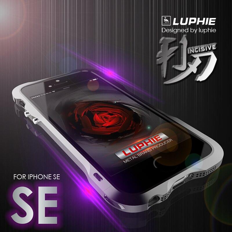 imágenes para Luphie Parachoques del Metal de Lujo para el iphone SÍ Carreras de Diseño en forma de Marco de Aluminio De La Aviación + Cuero de LA PU de La Contraportada Para iPhone 5/5S