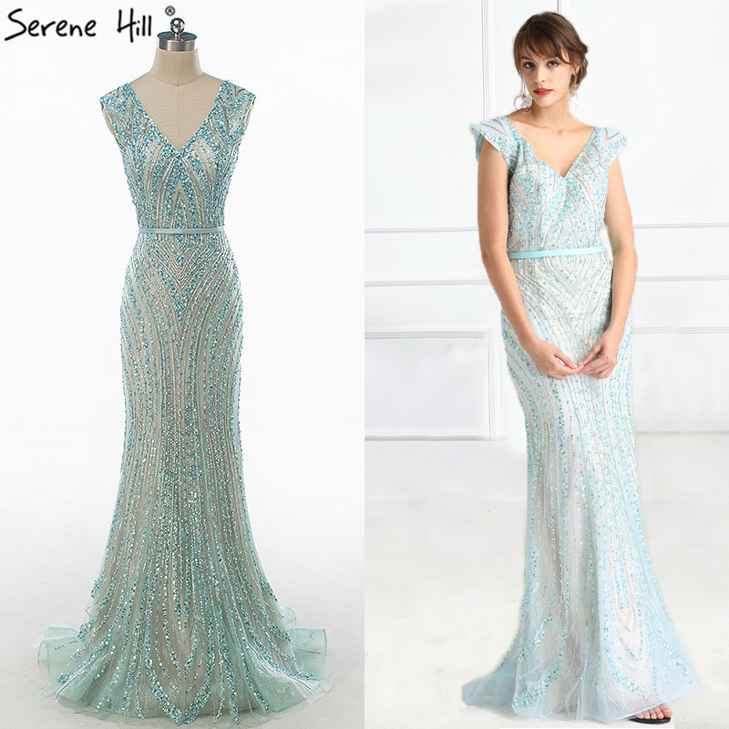 Image 2 - Luxury  V  Neck  Mermaid  Tulle Evening Dress Beading Hard working  Long Evening Gowns 2020 Serene Hill LA6049long evening gownstulle evening dressevening gown -