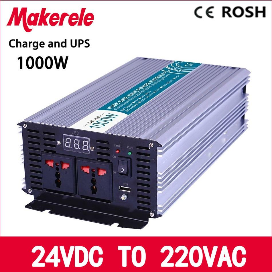 MKP1000-242-C UPS inverter 1000w 24v to 220v Pure Sine Wave off grid solar inverter voltage converter with charger and UPS p800 481 c pure sine wave 800w soiar iverter off grid ied dispiay iverter dc48v to 110vac with charge and ups