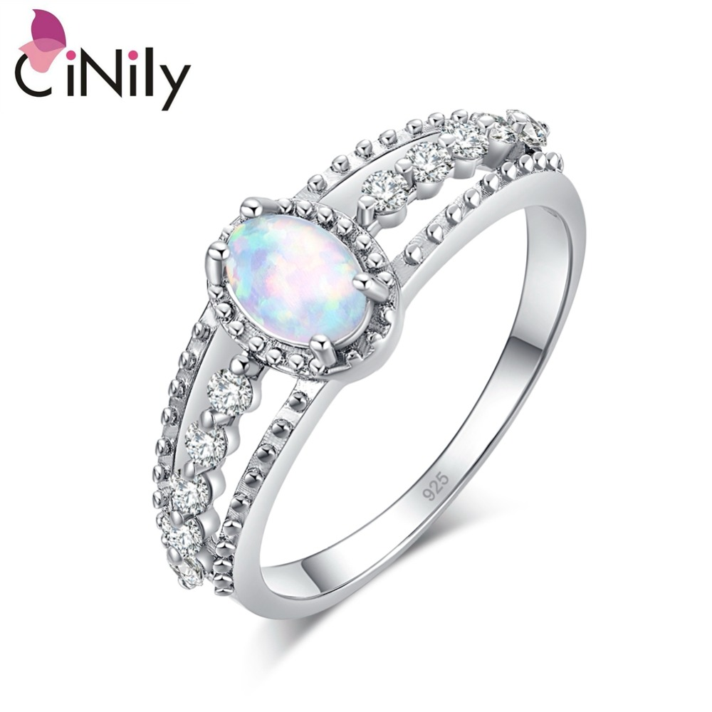 Cinily Finger-Rings Stone Fire-Opal Wedding-Engagement Silver-Plated White Zirconia Clear