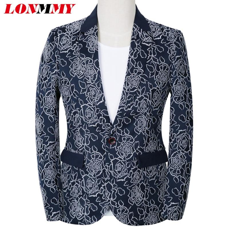 LONMMY PLUS SIZE 5XL Flower men suit jacket mens blazer casaco slim fit  Casual Floral mens blazer jacket Fashion New 2018 Spring 75752974a635
