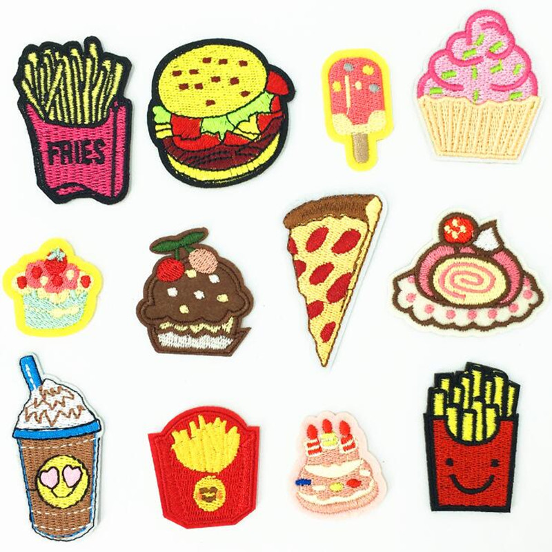 Western Food Dessert Patches Iron On Embroidered Patch For Clothing Sticker Badge Paste Clothes DIY Accessories Bag Pants