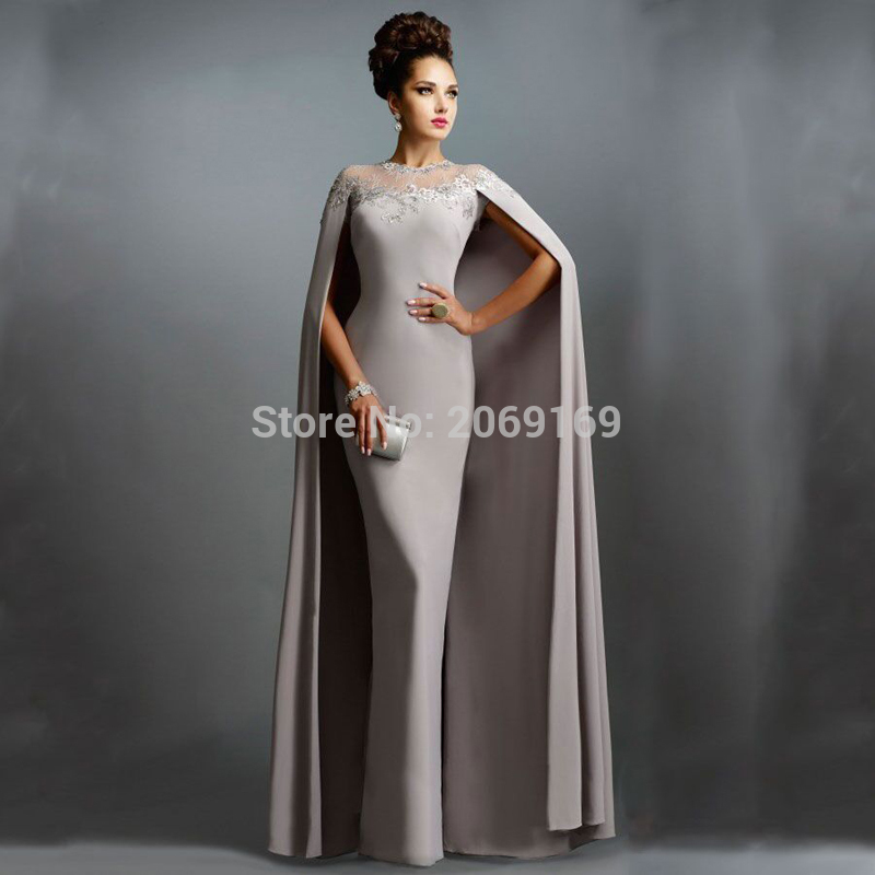 New Fashion 2019 Formal   Evening     Dress   Grey Chiffon Sheer Neck Appliques lace With Cape Sleeveless Floor-Length Prom Party Gown