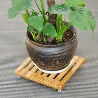 Bamboo Flower Pot Shelves Single Layer Rack Floor Type With Wheel Mobile Wooden Flower Receptacle For