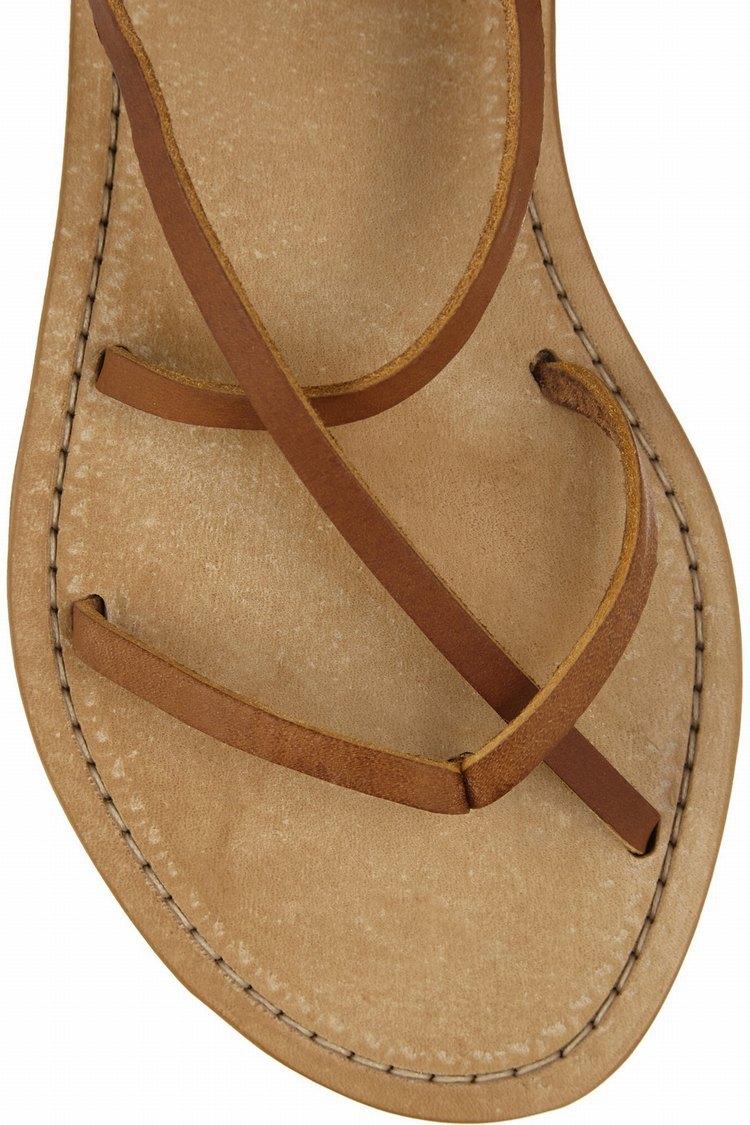 f73cc09b35a De cuero marrón de verano a media pierna botas mujer sandalias gladiador  sandalias planas de encaje hasta zapato con cierre superior Origina copia  mujer ...