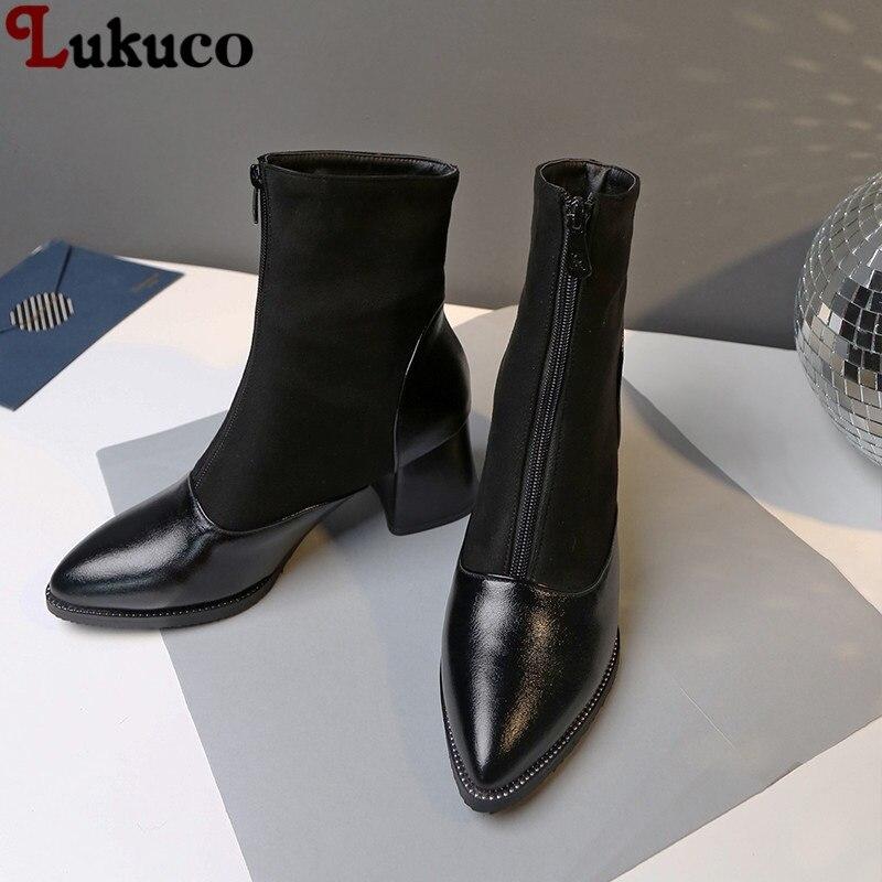 Lukuco Zipper Botas Work Safety Heel Pumps Plus Size 42 43 44 45 46 47 48 Ankle Boots women shoes short plush Insole shoes woman plus size 36 46 genuine leather women ankle boots hiking shoes women work safety shoes