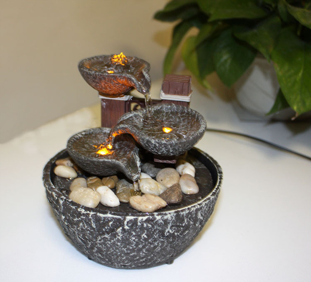 Good Bowl Small Indoor Fountain Home Decoration Led Lighting Light Humidifier  Water Features