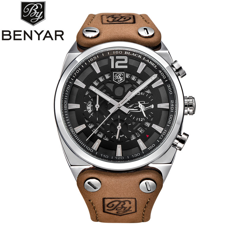 BENYAR Chronograph Sport Mens Watches Fashion Military Auto Date Leather Quartz Watch Big Clock Man Relogio Masculino BY-5112M 2017 new top fashion time limited relogio masculino mans watches sale sport watch blacl waterproof case quartz man wristwatches