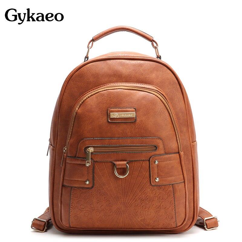 7229be1e798d Gykaeo для женщин кожаный рюкзак мода заклепки повседневное школьные ранцы  для подростков обувь девочек Павлин Большой ёмкость рюкзаки Mochila .