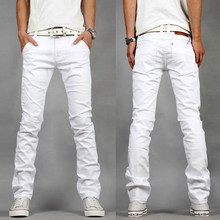 2017 men's fashion boutique pure color white slim leisure jeans casual pants / Male fine quality elastic leisure jeans trousers