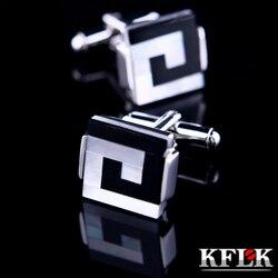 Kflk jóias camisa abotoaduras para homens marca escudo manguito link botão por atacado masculino de alta qualidade luxo casamento noivo frete grátis
