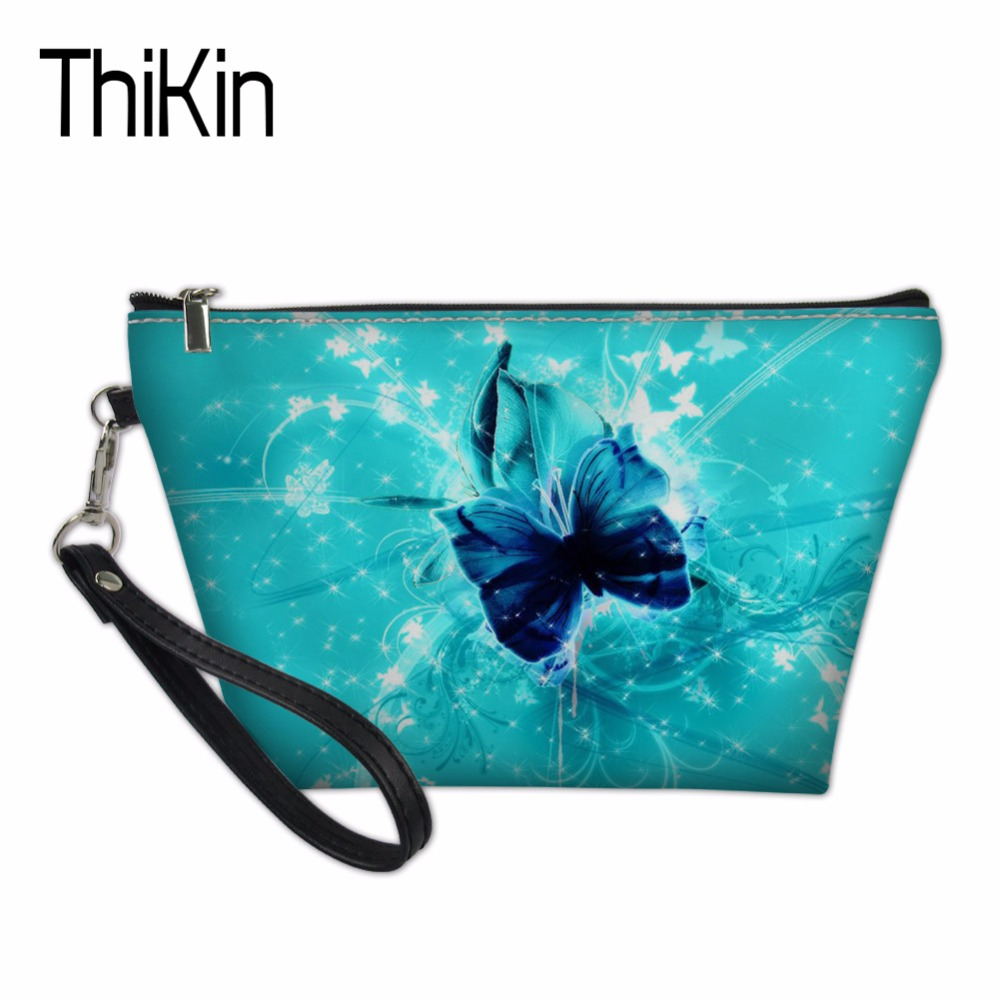 THIKIN Toiletry Kit Bag for Women Makeup Pouch Ladies Travel Cosmetic Bags Butterfly Make Up Cases Pochette Organizers Box