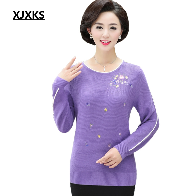 XJXKS Women Sweater High Quality Women Jumper Beautiful Embroidery Oversized Sweater Wool Pullover Plus Size Knitted