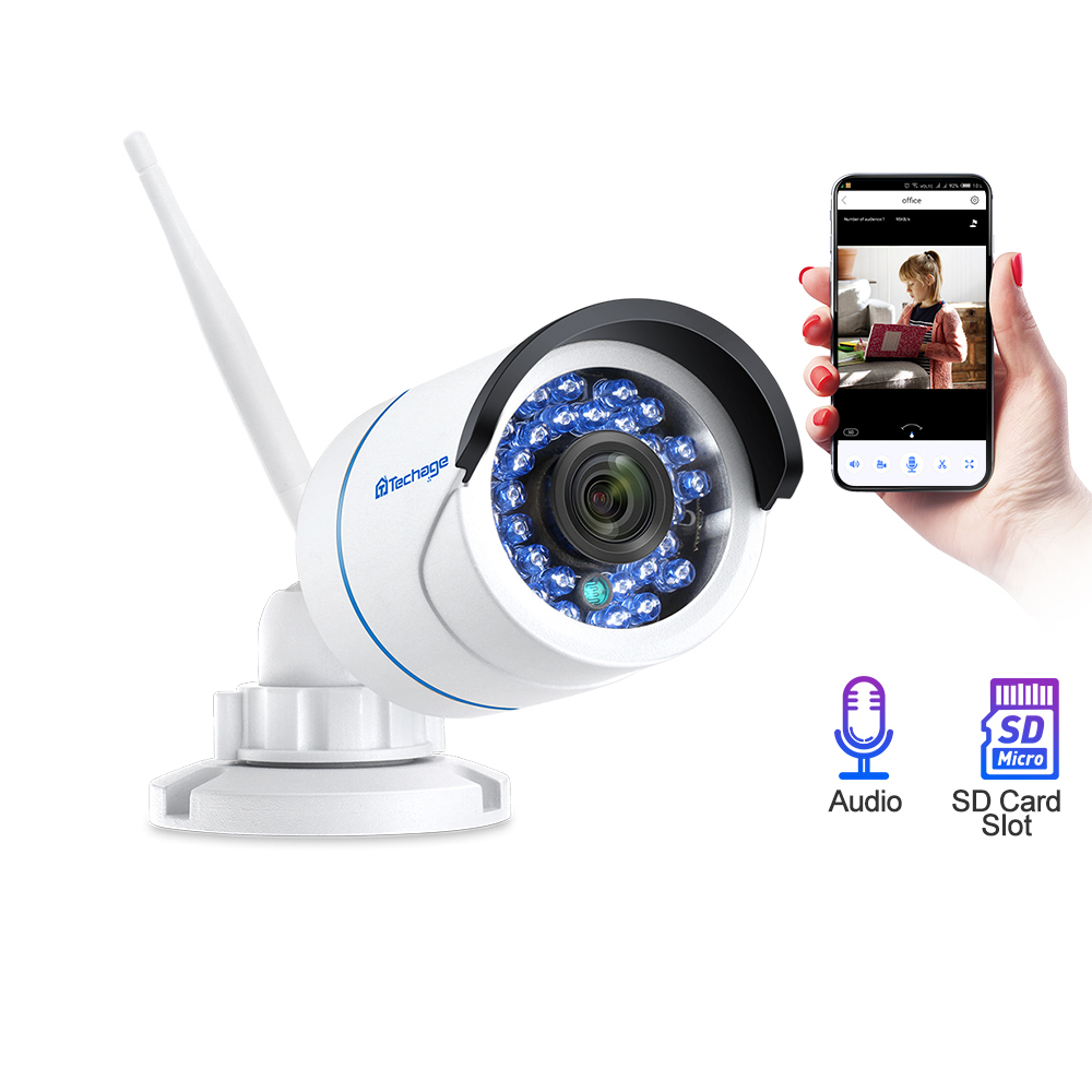 Techage Wifi Wireless IP CCTV Camera 1080P 720P Night Vision Video Audio Sound SD Card Record Security CCTV Surveillance ICsee