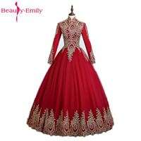 Uroda-Emily Czerwone Złote Aplikacje Suknia Suknie Ślubne 2017 Wysoka Neck Pełna Rękaw Arabia Saudyjska Muzułmaninem Suknie Ślubne