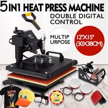 Promotion New Design Heat Press Machine 5 in 1 T-shirt/Mug/Cap/Plate/Mouse Pad/Phone Case Upgrated Slide Sublimation Printer